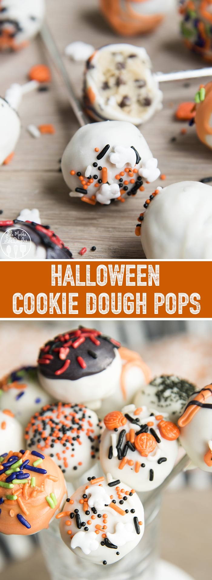These Halloween Cookie Dough Pops are adorable and delicious bites of cookie dough dipped in white chocolate and decorated with Halloween sprinkles for the perfect Halloween treat!