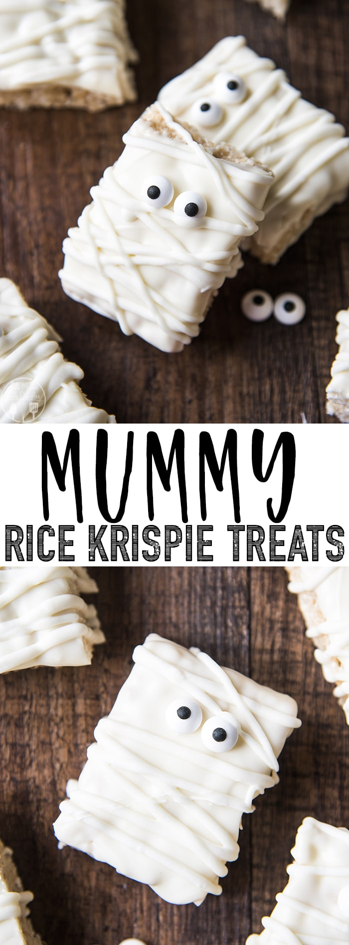 These mummy rice krispie treats are such an easy, and adorable Halloween treat!
