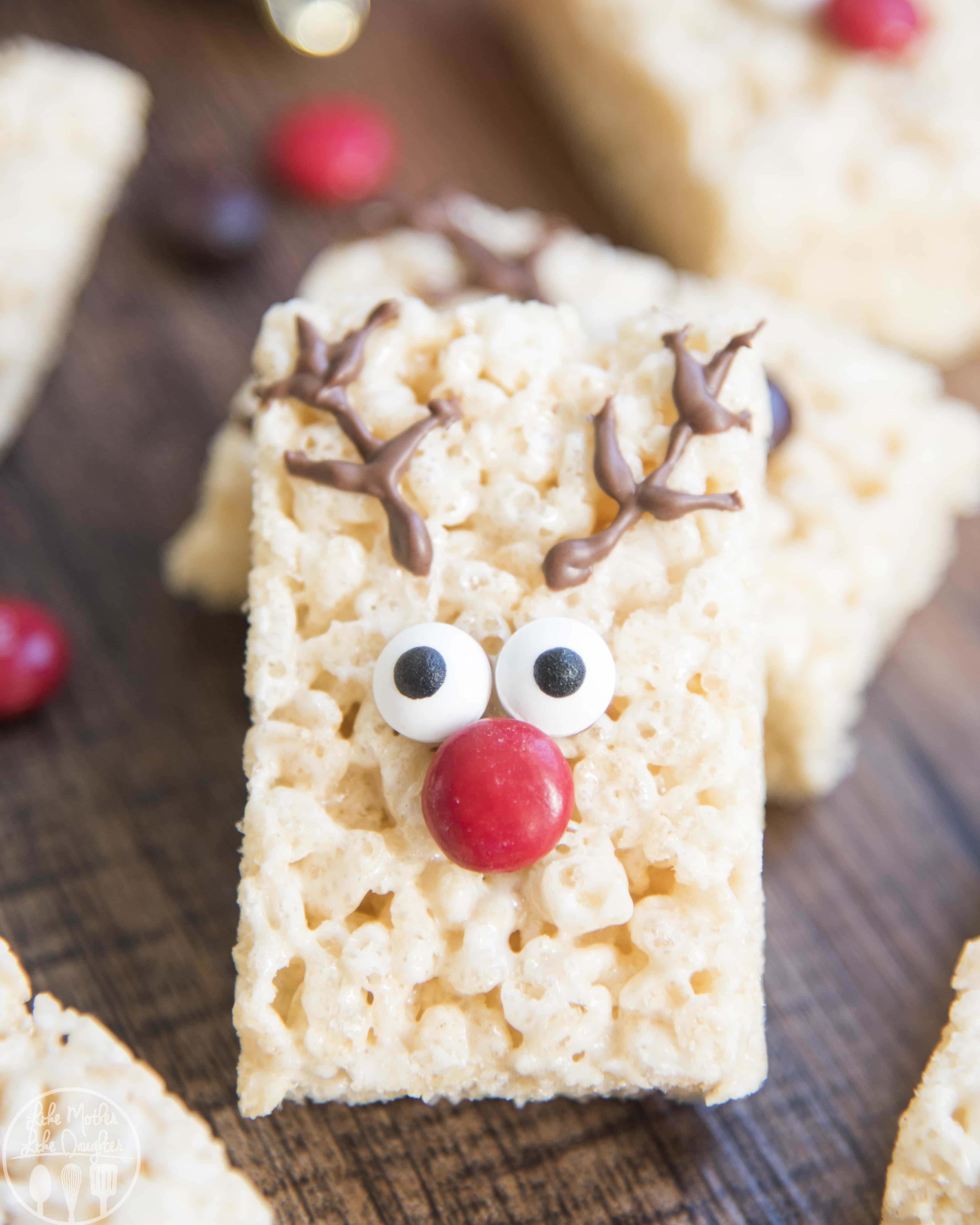 These Reindeer Rice Krispie Treats are so easy to make with only 4 ingredients; they only take minutes to make and are the perfect Christmas treat!