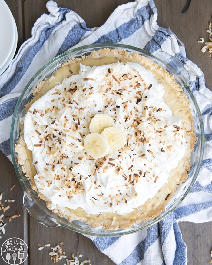 Banana Coconut Cream Pie with a shortbread crust