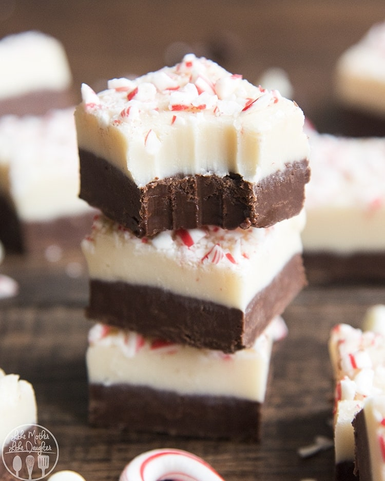 This peppermint bark fudge is a delicious chocolate and white chocolate two layer fudge made in the microwave, without a candy thermometer! It has the perfect light peppermint taste, and is topped with candy cane pieces. It's got the same great flavors of traditional peppermint bark, but in fudge form!